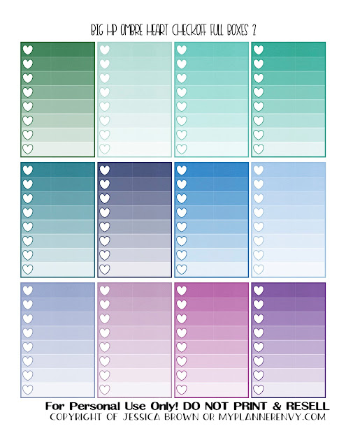Free Printable Ombre Heart Checkoff Full Boxes 2 of 4 for the Big Happy Planner from myplannerenvy.com
