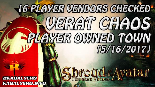 Verat Chaos, 16 Player Vendors Checked (5/16/2017)