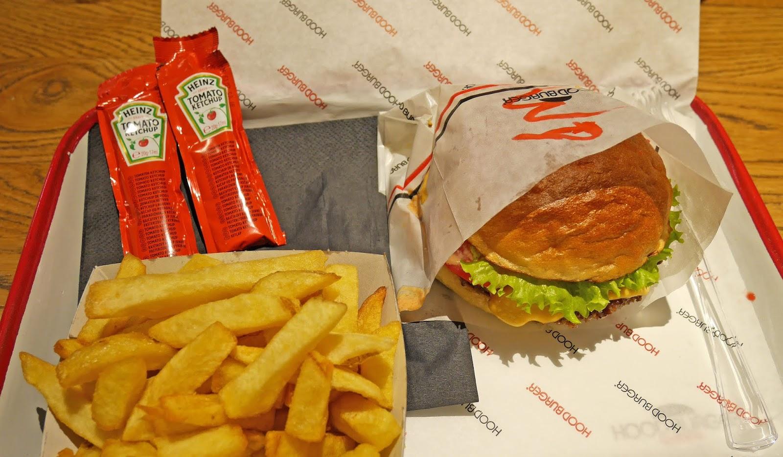 Burger and fries at Hood Burger in Ljubljana, Slovenia