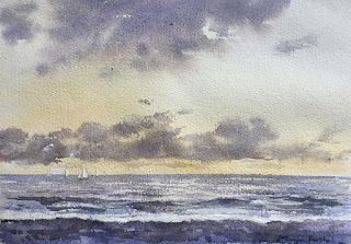 A water colour painting of s seashore in the morning by Indian artist Manju Panchal