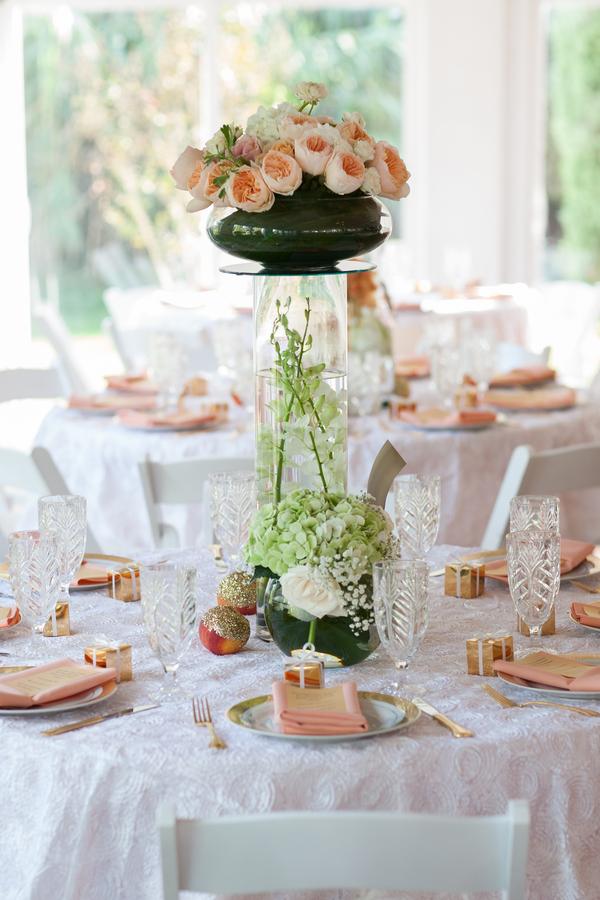 peach+orange+salmon+pink+pastel+shabby+chic+summer+spring+tea+garden+party+victorian+rebel+with+a+camera+wedding+bride+groom+centerpeice+cake+ruffle+ruffles+5 - Detail Spotlight: Peach & Gold