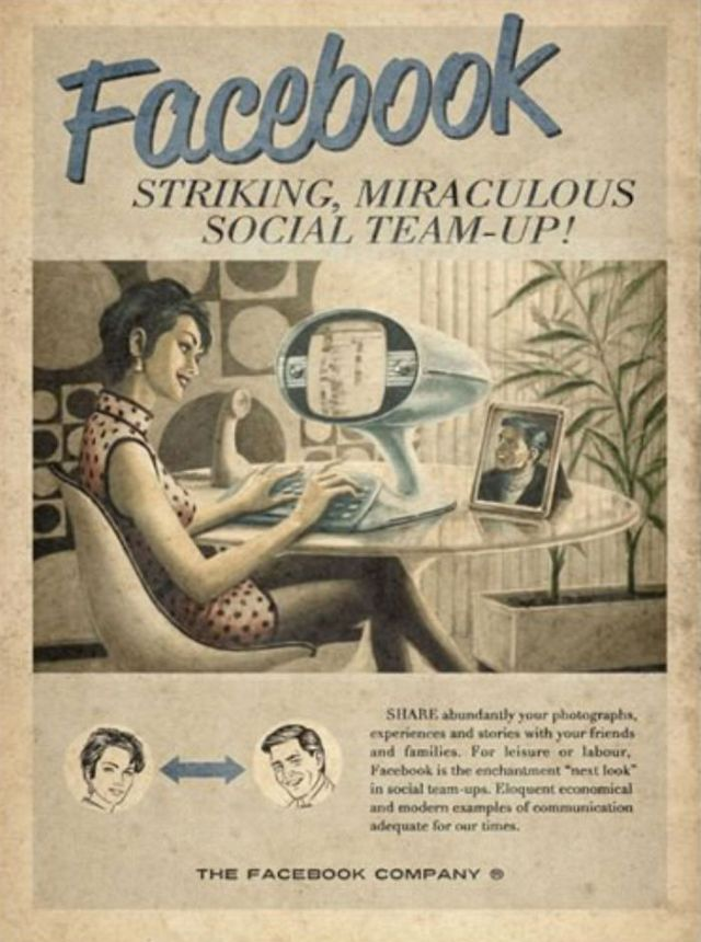 Retro Future Ads for Modern Social Networks in the 1950s