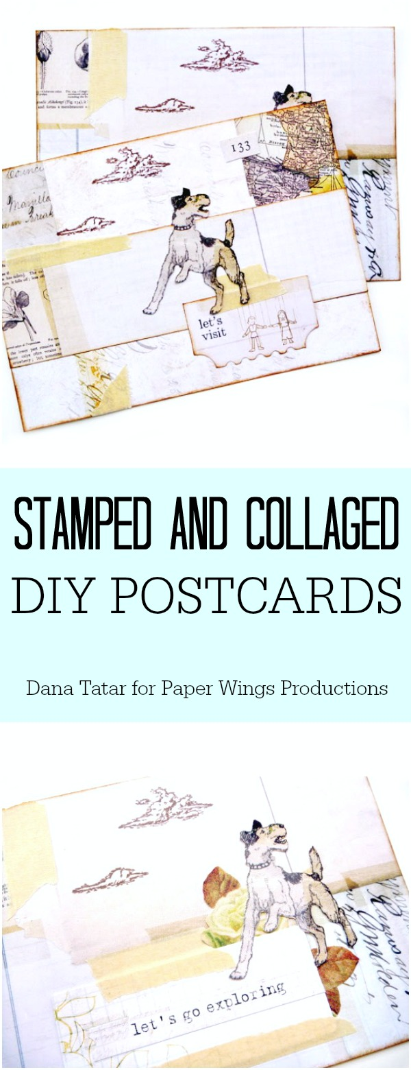 DIY Postcard with Stamped Clouds and Collaged Papers
