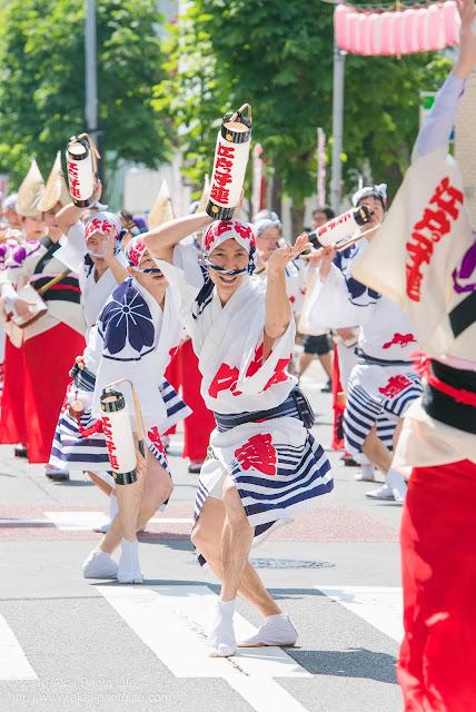 江戸っ子連、マロニエ祭りの福井町通りで男踊りの踊り手の一人を撮影した写真 その2