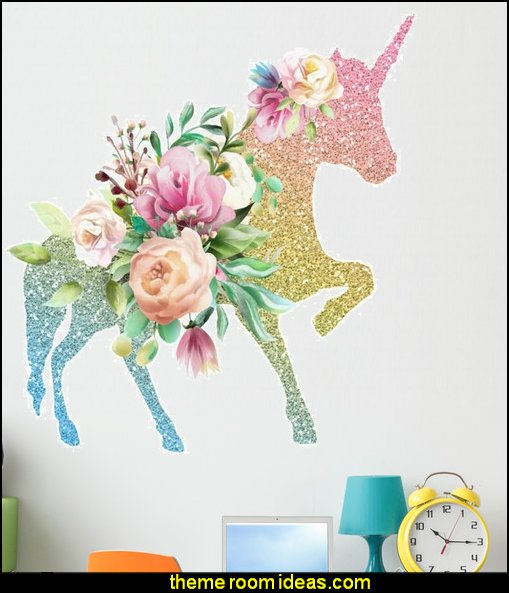 Colorful Floral Unicorn Wall Decal