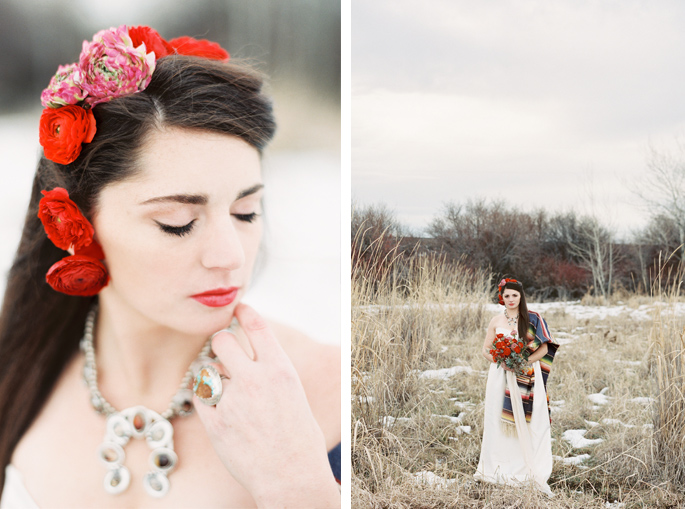 Flowers / Hair / Photography: Orange Photographie / Styling & Flowers: Katalin Green / Hair & Makeup: Alexa Mae / Dress: Coren Moore / Hat & Serape: Vintage / Necklace & Ring: Mountainside Designs / Location: Bozeman, MT