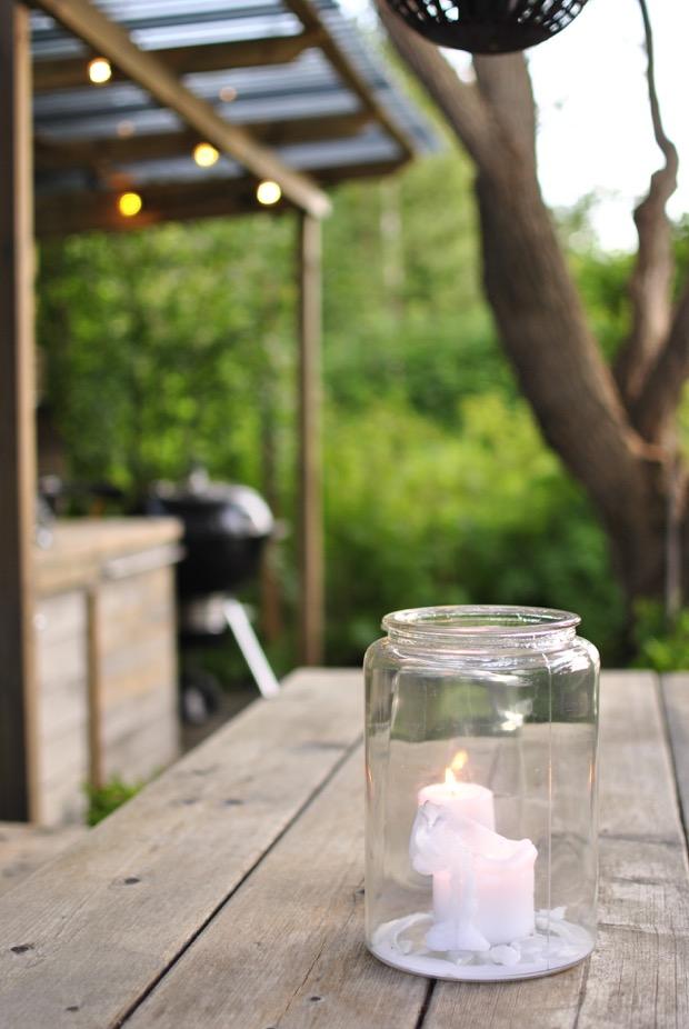 pergola utekök ljus i glasburk hannashantverk.blogspot.se