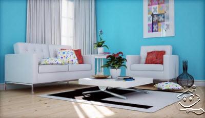Cat Ruang Tamu Biru Laut Desainrumahid