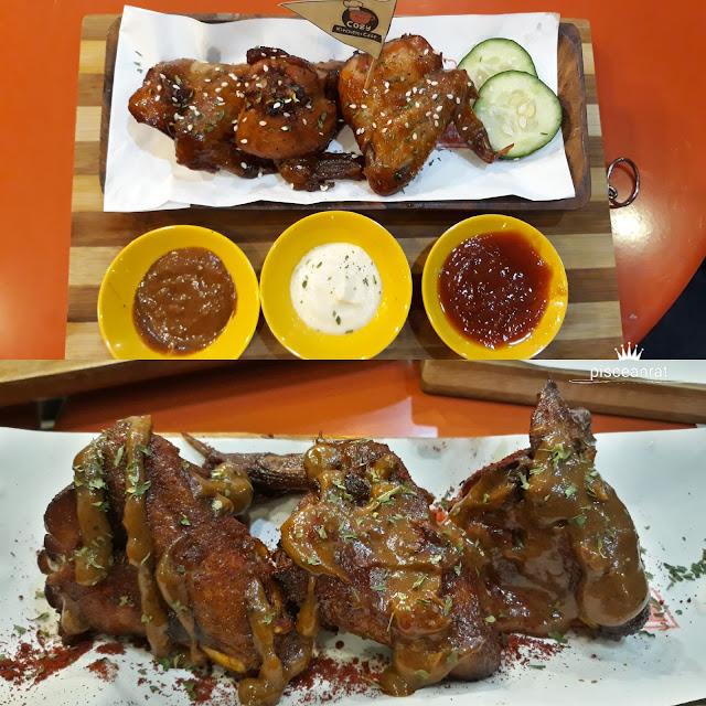 Buffalo wings in spicy or sweet.