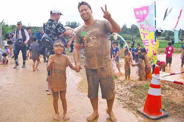 children, festival, mud, Okinawa, people