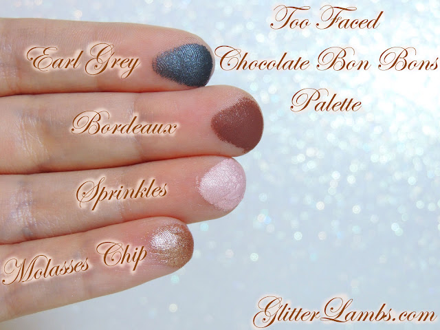"Too Faced ""Chocolate Bon Bons Palette"" Swatches by Glitter Lambs www.GlitterLambs.com Makeup Eyeshadow Review"