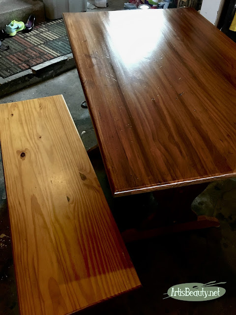general finishes antique walnut gel stain farmhouse table update before and after diy makeover