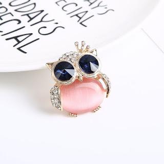 Pink Owl Rhinestone Brooch