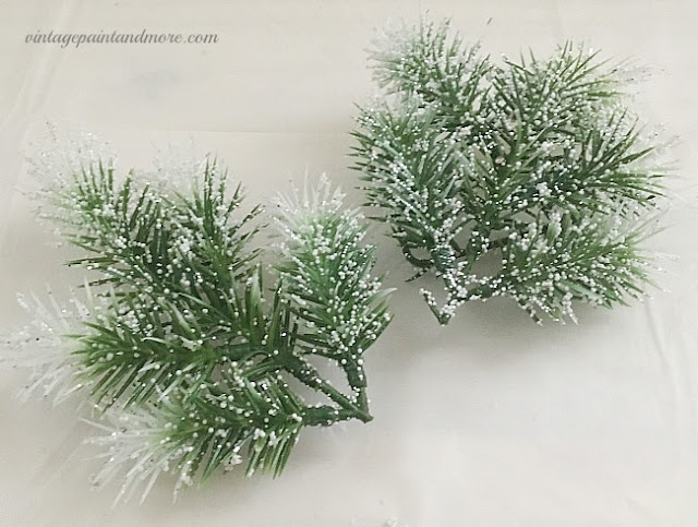 Vintage Paint and more... faux evergreen picks used to embellish winter wreath