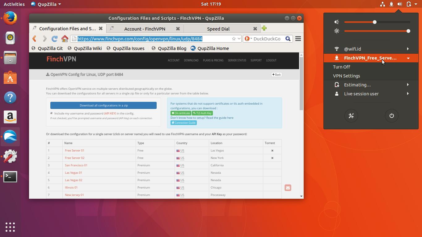 Connecting OpenVPN to FinchVPN com Service on Ubuntu 17 10