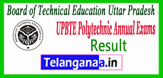 UPBTE Board of Technical Education Uttar Pradesh Annual Examination 2017 Result