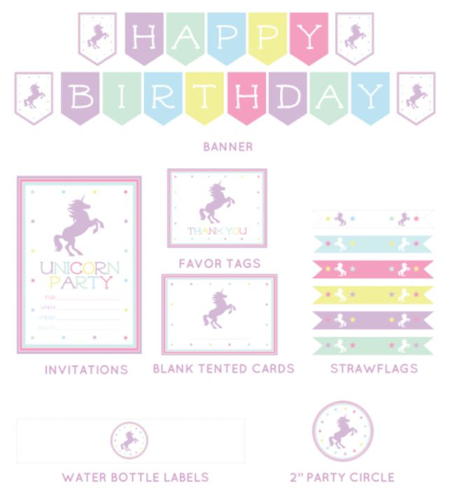 Pink Unicorn Free Printable Mini Kit Oh My Fiesta In English