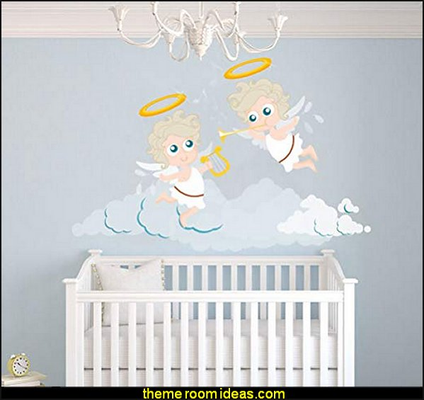 Singing Angels Flying in the Clouds Wall Decal  mythology theme bedrooms - greek theme room - roman theme rooms - angelic heavenly realm theme decorating ideas - Greek Mythology Decorations -  angel wall lights - angel wings decor - angel theme bedroom ideas - greek mythology decorating ideas - Ancient Greek Corinthian Column - Spartan Warrior Gladiators - Greek gods - Angel themed baby room - angel decor - cloud murals - heaven murals - angel murals ethereal - greek key pattern - cupid theme bedrooms - cherub throw pillows - greek roman decor  - Column Wall Sculpture -  French Provincial furniture