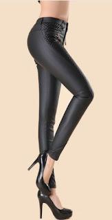 Pantalones legging de cuero PU con cremallera, bolsillos y patchwork en cuero
