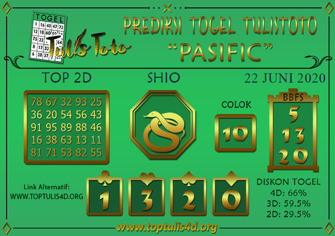 Prediksi Togel PASIFIC TULISTOTO 22 JUNI 2020