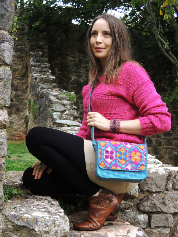 Boho needlepoint satchel teamed with casual preppy style