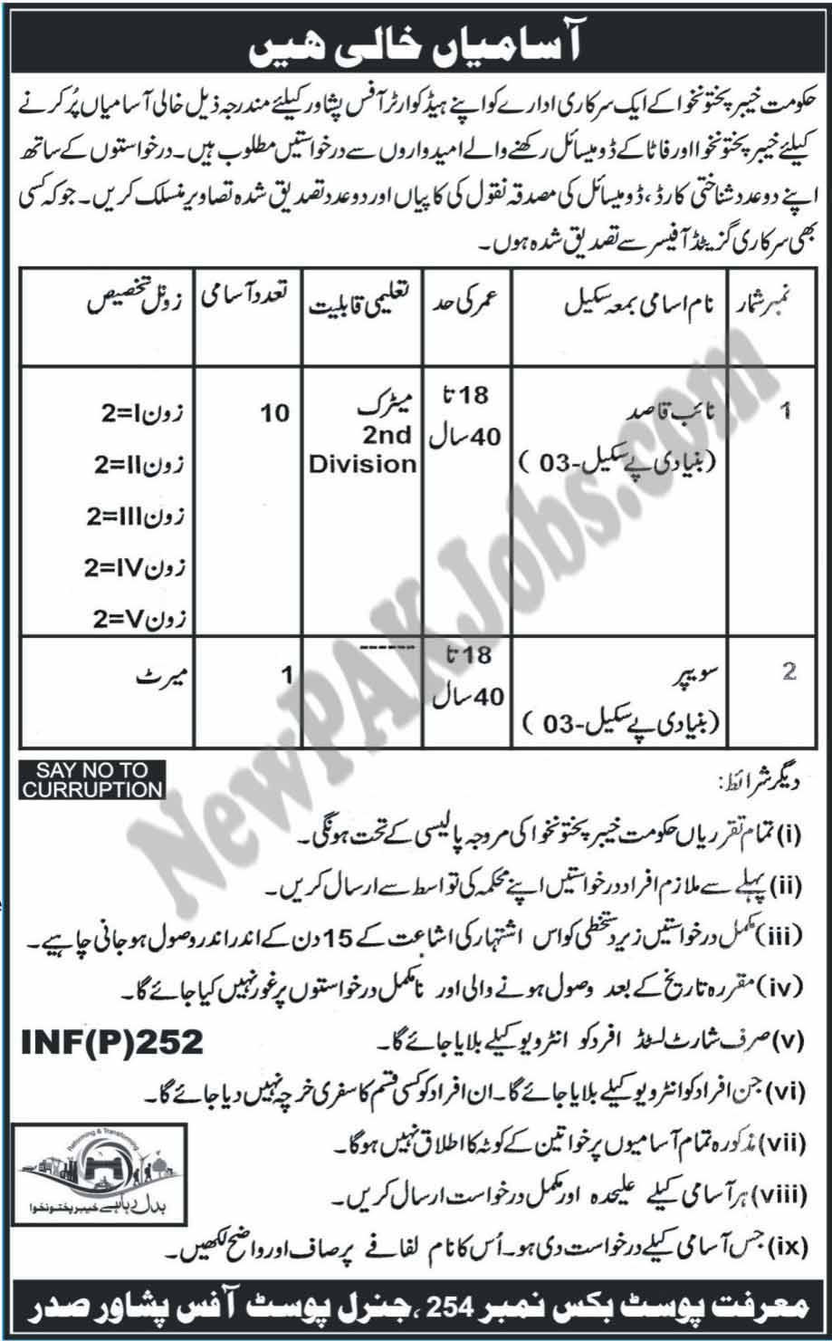 Newest Jobs for Naib Qasid & Sweeprs in Khyber Pakhtunkhwa Jan 2018