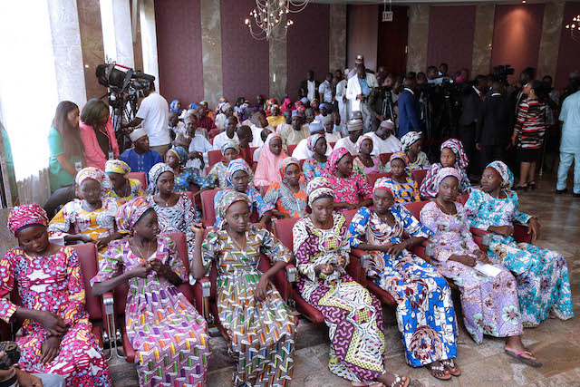 82 released chibok girls arrives abuja