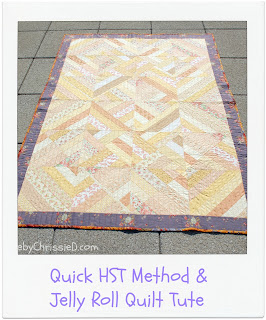 A Quick HST Method & Jelly Roll Quilt Tute by www.madebyChrissieD.com