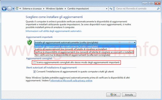 Disattivare aggiornamenti automatici e consigliati Windows Update