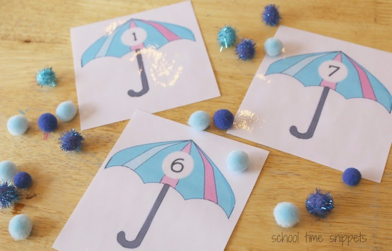 count raindrops preschool math printable