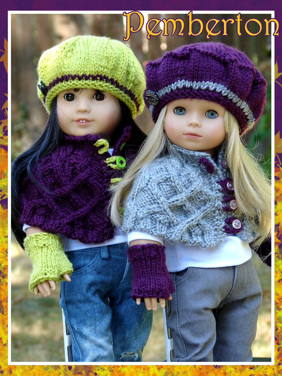 Debonair designs for 18 american girl dolls slim happy gotz kidz pemberton a cabled capelet and fingerless mitts pattern new from my fall collection bankloansurffo Gallery