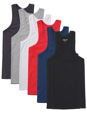 Dimore 6 Pack Classic Fit Men Tank Top Undershirt Athletic Muscle Sleeveless T Shirts Sport Singlet