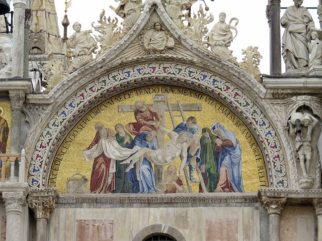 Mosaic of the Deposition from the Cross, western façade lunette above the Portal of St. Alipius, St Mark's Basilica, Venice
