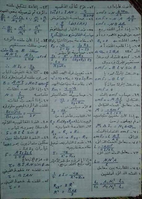 جدول كامل بقوانين الفيزيا لطلاب ثانوية عامة 2019