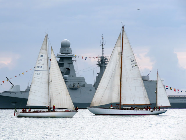 Sailboats Chaplin and Caroly of the Italian Navy with in background the frigate Carlo Bergamini, Terrazza Mascagni, Livorno