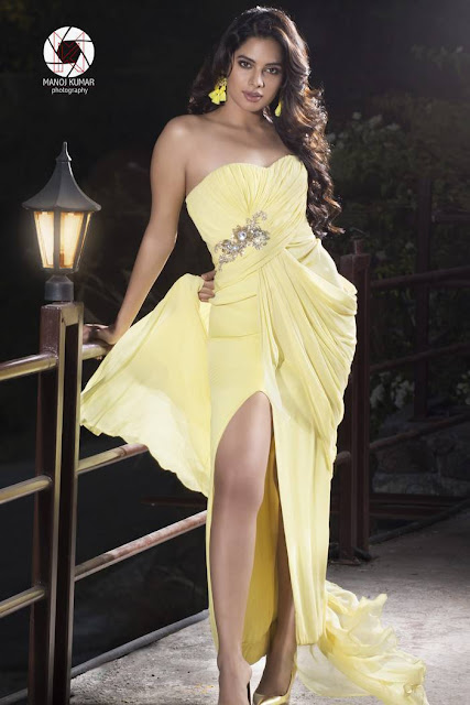 Tanya Hope Photoshoot Stills In Light Yellow Dress
