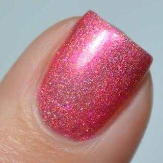 coral shimmer holo nail polish