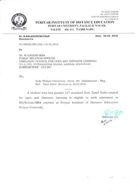 Tamilnadu council for open and distance learning tamilnadu council periyar university approves tcodl for admission to undergraduate courses yadclub Image collections