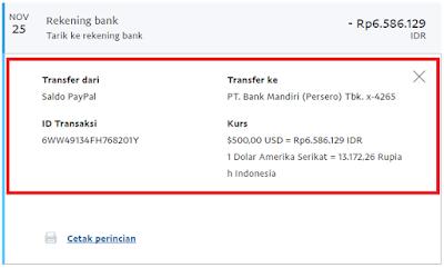 Bukti Penghasilan uang dari whaff ke Rekening Bank