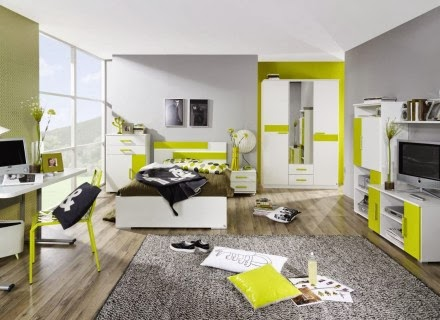 dormitorio adolescente verde y gris