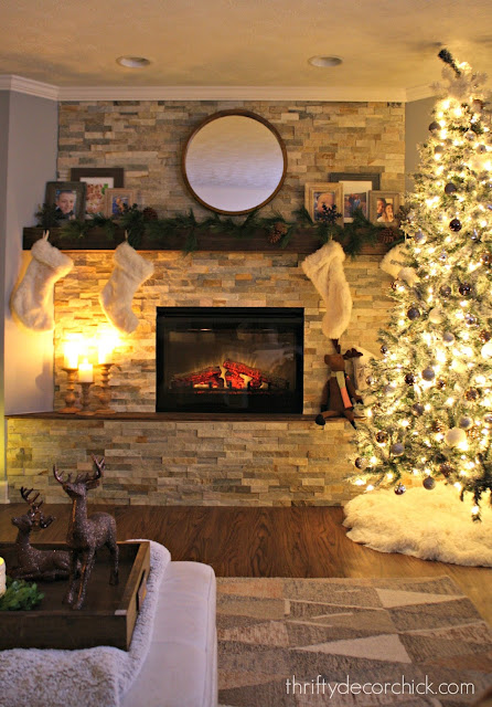 stone fireplace in basement