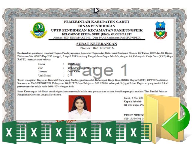 Aplikasi Cetak Sertifikat Piagam KKG Format Excel Otomatis