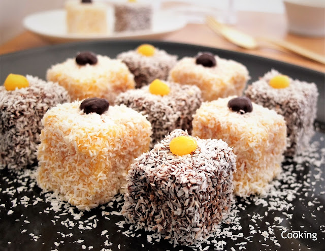 Lamingtons Recipe with chocolate and orange curd