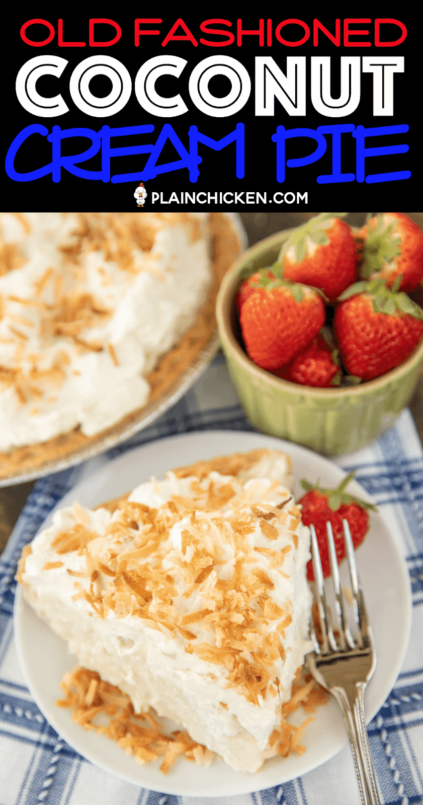 slice of coconut cream pie on a plate with strawberries