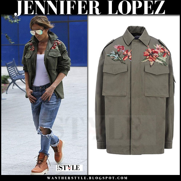 Jennifer Lopez in khaki green Valentino safari jacket, ripped jeans and brown ankle boots buscemi what she wore