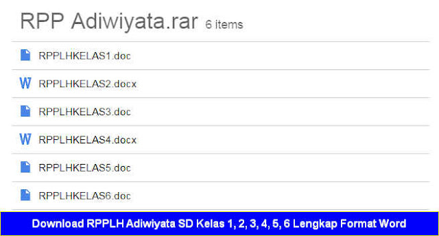 Download RPPLH Adiwiyata SD Kelas 1, 2, 3, 4, 5, 6 Lengkap Format Word