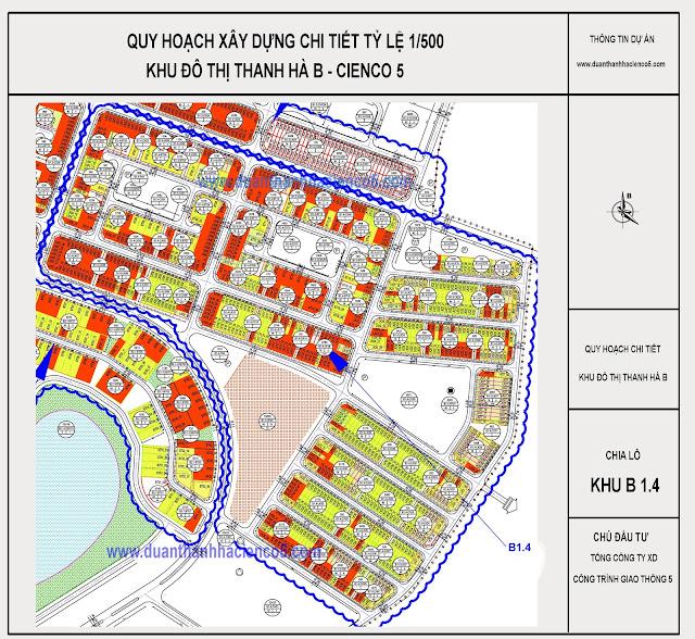 Sơ đồ khu B1.4 dự án Thanh Hà Cienco 5 Hà Đông