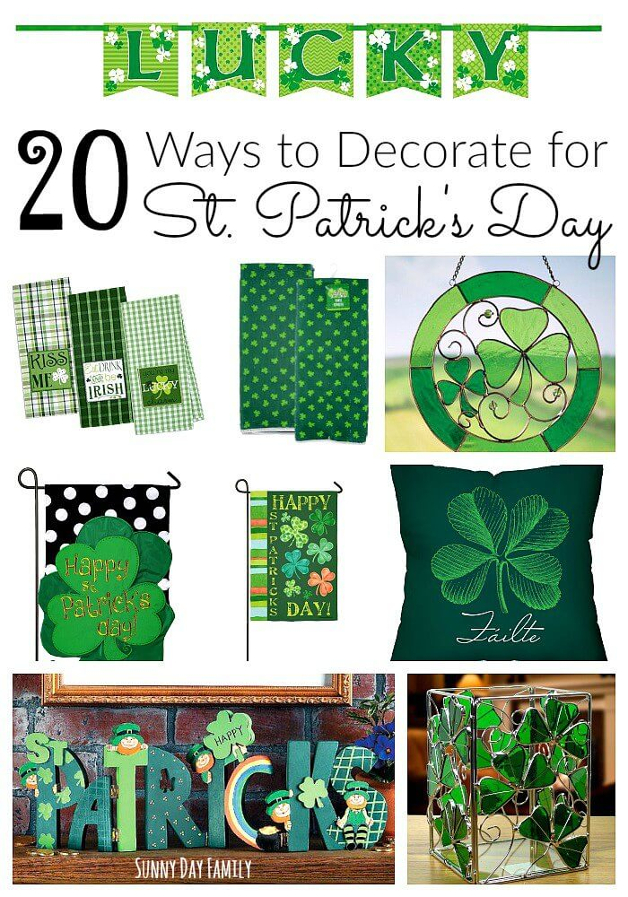 20 St. Patrick's Day Decorating Ideas! Fun St. Patrick's Day themed accessories for your home and garden, plus super cute St. Patrick's Day party decorations!