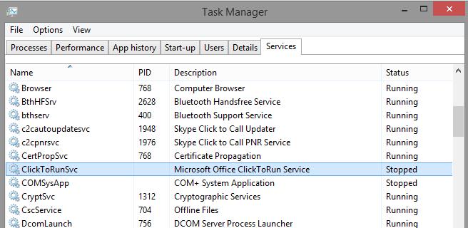 microsoft office click to run