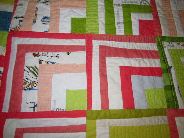 improv log cabin using thrift store linen....quilted on Martelli sit down - marty mason